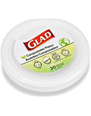 Glad Eco Compostable Plates | 7-inch Sugarcane Plates for Adults and Kids, 20 Count | Sugarcane Plates, Microwavable and Freezer Safe, Leak & Cut-Resistant Plates