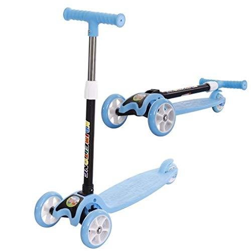 JSZHBC Niños Kick Scooter Rueda Grande Suave y rápido Paseo Plegable 1 Segundo diseño Ligero portátil de Altura Ajustable del Regalo de cumpleaños for el Cabrito Scooter clásico (Color : Blue)