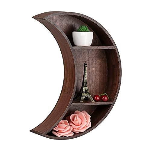 Rylod Crescent Moon - Estante flotante con forma de luna, para colgar en madera, cristal, decoración de pared, para dormitorio, sala de estar, decoración única, color marrón