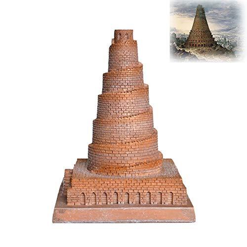 Decorações para a casa, Escultura da Torre de Babel iraquiana, Decoração de modelos de casas de edifícios históricos, coleções decorativas Pequenas esculturas, lembranças turísticas (9 × 9 × 11,8 cm),9cm×9cm×11.8cm-Brickred