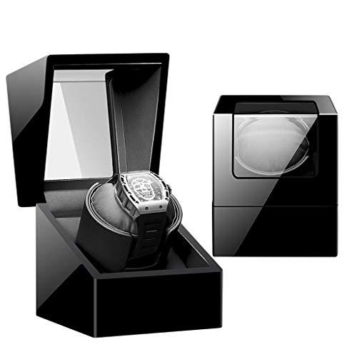WXDP Automatischer Uhrenbeweger, raffiniert und elegant für Uhren, 5 Modi, mit Stummschaltung, Klavier-Farbe, glänzend, Kugellager-Box, schwarz