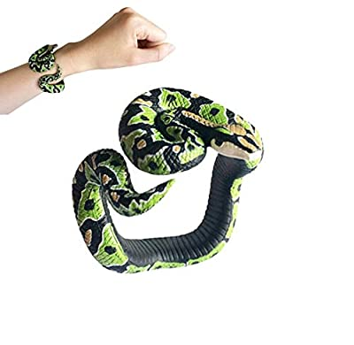 Binory Simulation Resin Animal Python Bracelet Handmade Painted PVC Material Prank Toy for Kids Adults April Fools Day Birthday Gift (H)
