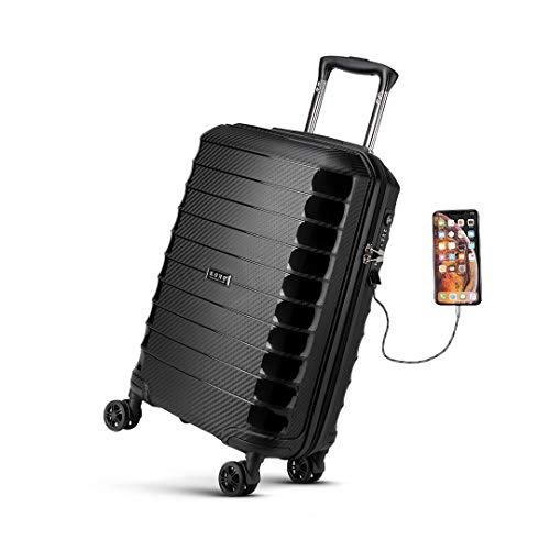 Kono 55cm Hard Shell Carry on Cabin Suitcase with USB Port TSA Lock Spinner Polypropylene Luggage 37L (Black)