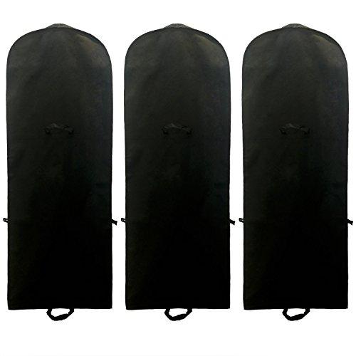 TUKA [3st.] Atmungsaktiver Kleidersack 180cm x 64cm, breite Seitenfalte, Faltbare Schutzhülle für Brautkleider/Abendkleider/Anzüge, Aufbewahrung & Transportieren, Schwarz TKB1001 3X