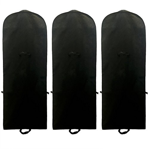 TUKA-i-AKUT [3pcs] 71' Breathable Garment Cover, 180 x 65 cm Clothes Bag, Storage Transport of Wedding Dress Gown Evening dress, suit coat. Long Zip + 2 Pockets + Carry Handles, TKB1001 Black 3x