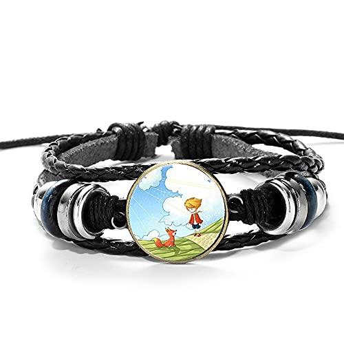 Bracelet Le Petit Prince Affiche Bracelet Prince Et Renard Rose Art Photo Verre Dôme Cuir Multicouche Bracelets Bracelet Pour Enfant