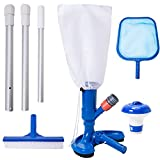 YSMJ Pool Cleaning Kit Pool Vacuum Jet Cleaner Poor Brush Chlorine Dispenser Pool Skimmer Net with 3 - Section Pole Pool Maintenance Set for Above Ground Pools Spas Hot Tub Fountains