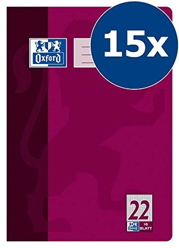 Oxford Schule Schulheft A4, kariert, Lineatur 22, 16 Blatt, violett, 15er Pack