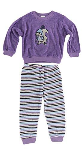 Meisjes peuters badstof pyjama pyjama met manchetten en schattige dier als motief, kleur: paars; Maat: 98