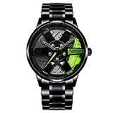 Reloj de Rueda de Coche Estereoscópico Hueco para Hombre Relojes Deportivos de Moda Reloj de Pulsera para Entusiasta del Coche con Cubo de llanta Impermeable