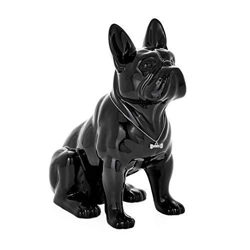 Torre & Tagus Sitting French Bulldog Sculpture Decor Small Animal Statue for Home Office, Book Shelf, Kitchen Countertop, Bathroom TV Stand Dog Lovers, One Size, Black
