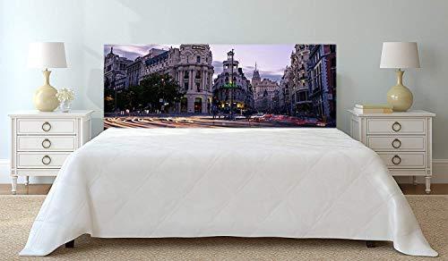 Cabecero Cama PVC Vista Nocturna de Madrid | 100x100cm | Diponible en Varias Medidas | Cabecero Ligero, Elegante, Resistente y Económico