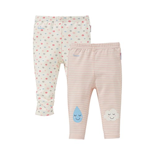 Bornino Lot de 2 leggings « nuages » pantalon bébé, rose
