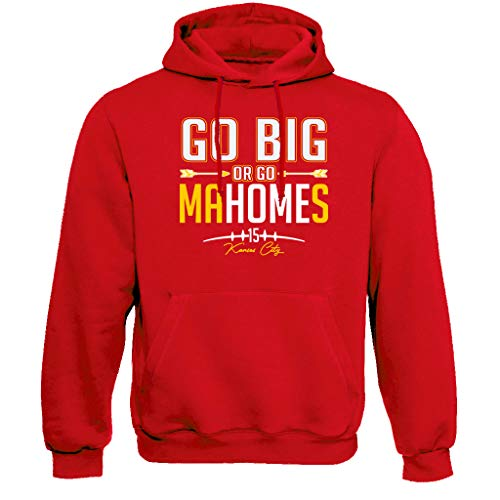 Kansas City Go Big or Go MaHomes Football Fans Mens Hoodie Sweatshirt (M) Red