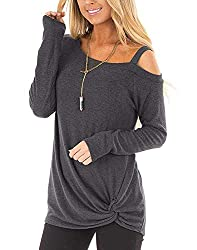 Plain long sleeve t-shirts, cold shoulder tops with one-side spaghetti straps, side knot with twisted detail at hem, slash neck with off one shoulder. Casual and soft tee shirts, simple but stylish to adds your wardrobe in spring summer fall. Great t...