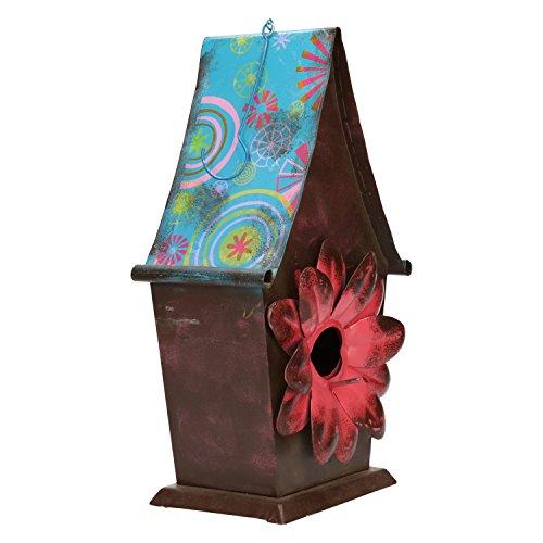 AmaCasa Mangeoire en métal à suspendre avec décoration design nichoirs-env. 31,5 cm x 17,5 cm x 12 cm – Rouge/bleu/marron