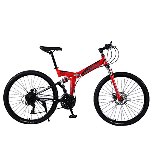 Joysale 24 Inch Folding Bike Aluminum Full Suspension Road Bikes Mountain Bike Dual Disc Brake, 21 Speed Bicycle, Foldable, Best for Adults Students(Red)