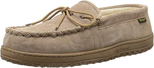 Old Friend Men's Cloth Lined Moccasin Slipper, Chestnut, 9 D-Medium