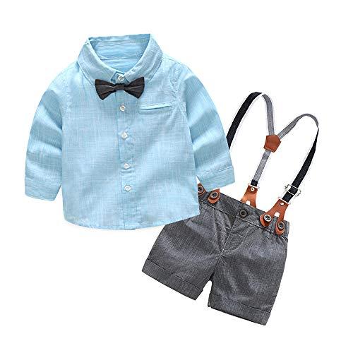Baby-Set KidsRobemon, gestreift, für Kinder, Baby, Jungen, Latzhose und Overall, Mr. Style Suit Bow Tie Shirt, Hosen, Outfit Gr. 3-6 Monate, blau