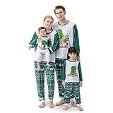 YTZL Ropa familiar de Navidad con estampado de dinosaurios, camiseta de manga larga, pijama de Navidad, ropa de dormir familiar con bebé Navidad, Niño*verde, 2 años