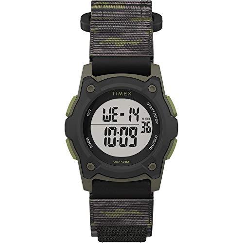 Timex Boys TW7C77500 Time Machines Digital Black/Green Camouflage Fast Wrap Strap Watch