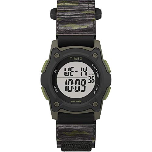 Timex Boys TW7C77500 Time Machines Digital Black/Green Camouflage Fast Wrap Strap Watch