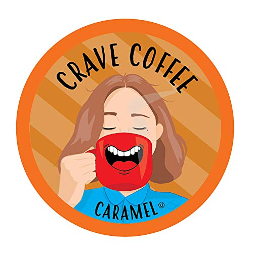 Crave Coffee Flavored Coffee Pods, Compatible with 2.0 K-Cup Brewers, Caramel Flavor, 40 Count