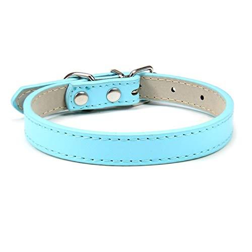 LWXFXBH Collar ajustable para mascotas Collar de gato y perro Collar de cuero para mascotas (color: azul claro, tamaño: 1,5 m)