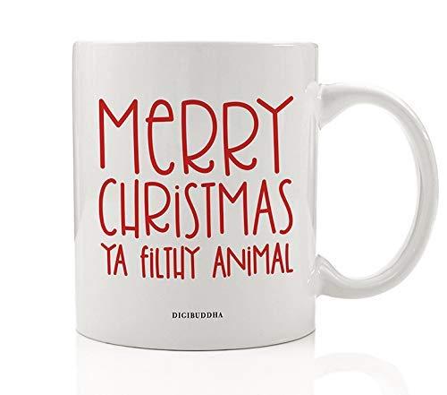 Merry Christmas Ya Filthy Animal Mug Gift Funny Kid Alone Seasonal Holiday Movie Present Idea for Child Children Friend Family Member Coworker 11oz Ceramic Coffee Beverage Tea Cup by Digibuddha DM0543