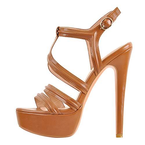MissHeel Damen Riemensandalen Asymmetrische Sandalen Stiletto Offene-Toe Sandaletten Braun EU 41