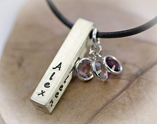 Namenskette, Familienkette Silber Barrenkette mit Gravur Geburtsstein, personalisierte Halskette