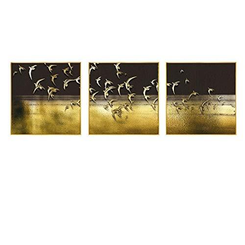 Lienzo impreso en lienzo para pared, color negro y dorado, 3 unidades de 70 x 70 cm, sin marco