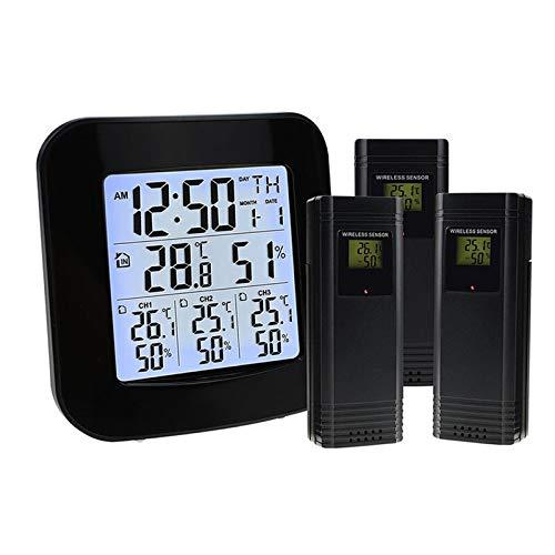 Termómetro Higrómetro interior, termómetro digital de escritorio, con monitor de temperatura y humedad, termómetro de habitación higrómetro preciso, con reloj, adecuado para el garaje para el hogar.