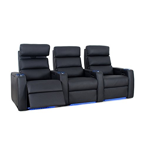Octane Seating Dream HR Home Theatre Seating - Black Top Grain Leather - Power Recline - Lighted Drink Holders - Row of 3 Seats