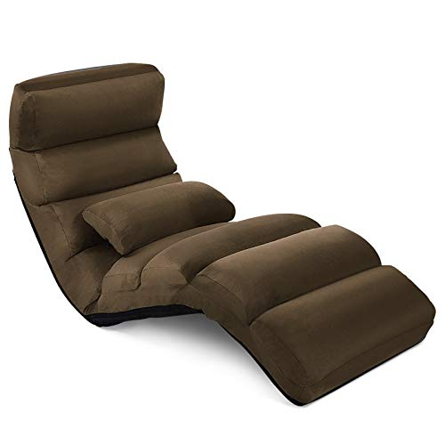 COSTWAY Folding Floor Sofa, 5 Positions Adjustable Single Lounger Sleeper Chair Seat with Pillow, Home Office Living Room Bedroom Lazy Sofa Bed (Coffee)