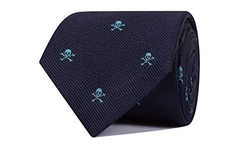 SoloGemelos - Corbata De Seda Azul Con Calaveras - Hombres