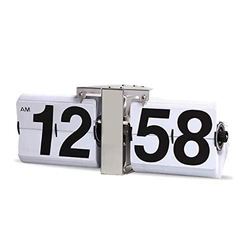 WSYGHP Reloj de Mesa Reloj Grande Reloj Classic Automatic Flip Skinktop Decoración de Escritorio También se Puede Utilizar como Reloj de Estante de Reloj de Pared Reloj Despertador (Color : White)