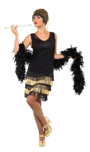 Smiffys, Damen 20er Fringed Flapper Kostüm, Kleid mit Spitzenfront und perlenbesticktem Saum, Größe: L, 33676