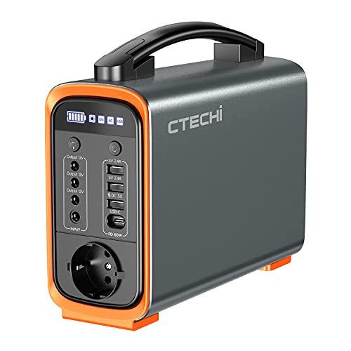 CTECHi Generador Solar Portátil 240 Wh/75000 mAh, con batería LiFePO4, AC/DC/USB/Tipo-C, cargador de coche para camping de emergencia