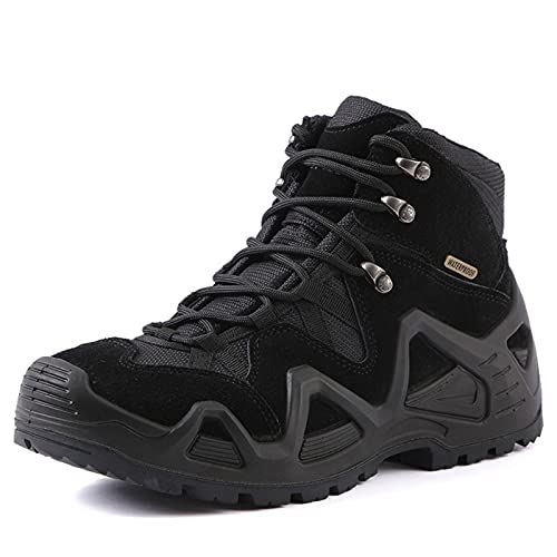 WANGT Zapatos De Montañismo Medio para Hombre, Botas De Senderismo Impermeables, Calzado para Caminar para Hombre, Antideslizante Y Absorción De Impactos,Negro,43