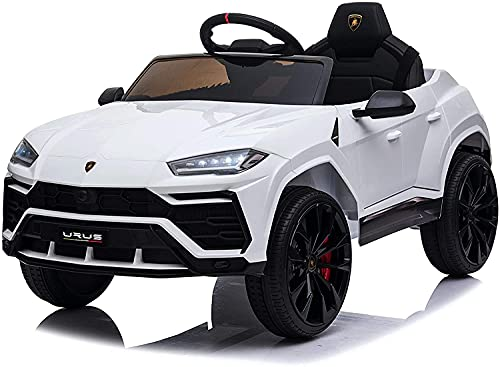 Mondial Toys Auto Macchina ELETTRICA Per Bambini 12V LAMBORGHINI URUS con Sedile in Pelle Cintura di Sicurezza A 3 Punti Telecomando Bianco