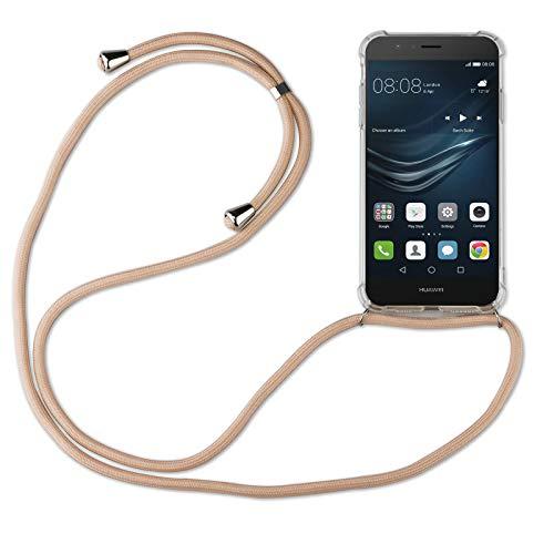 betterfon | Huawei P9 Lite Handykette Smartphone Halskette Hülle mit Band - Schnur mit Case zum umhängen Handyhülle mit Kordel zum Umhängen für Huawei P9 Lite Beige/Braun