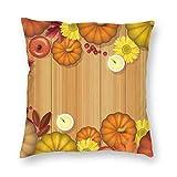 Funda de almohada decorativa cuadrada con diseño de hojas de arce, velas de calabaza, flores, verduras, 45,7 x 45,7 cm