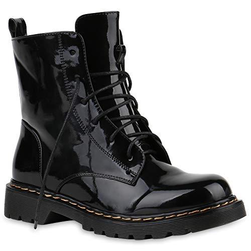 Damen Worker Boots Stiefeletten Booties Lack Knöchelhohe Stiefel Boots Profilsohle Schuhe 145212...