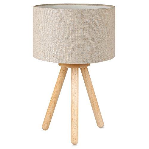 Tomons Lámpara de cabecera en madera, trípode, Pantalla clásica en tela, perfecta para dormitorio, sala de estar, estudio y oficina, alto 39 cm, 1 x bombilla LED de 4W incluida - Lino