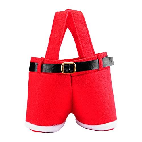 Henfear 6pcs Santa Pantalones Estilo Bolsa Rojo Encantadora Navidad Dulces Bolsas con Manija Bolsas de Navidad para Vacaciones Decoración del Hogar