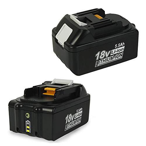 SHGEEN 2Stück 18V 5.5Ah BL1860B Lithium Akku Ersetzen Ersatz für Makita 18V Batterie BL1860 BL1850 BL1840 BL1830 194204-5 LXT-400 Mit LED-Anzeige