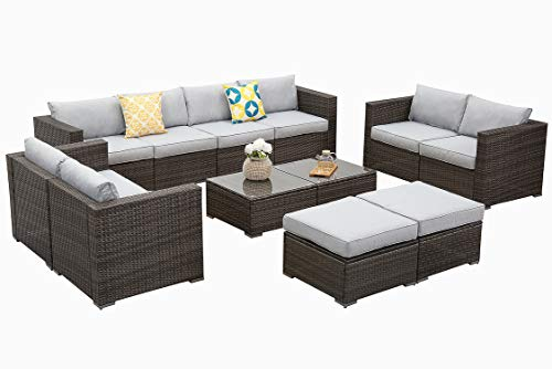 Wisteria Lane Outdoor Furniture Set, 12 PCS Wicker Patio Sectional Sofa with Glass Table and Ottoman, Rattan Seating for Deck Balcony - Upgrade Grey Cushion