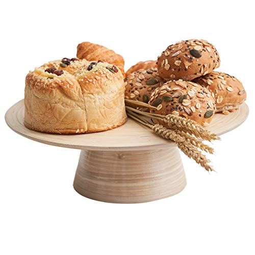 Bamboo Cake Stand for Birthday Wedding Natural Wooden Cake Stands Ideal for Use at Parties Serving Tray Fruit Holder Cheese Plate Dessert Display Stands Glossy Metallic Champagne - Bamboo Natural