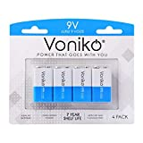 VONIKO 9V Batteries - Alkaline 9V Battery 4 Pack - Ultra Long Lasting with a 7 - Year Shelf Life